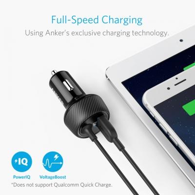 Автомобильное зарядное устройство c встроенным проводом Lightning Anker USB 24W 4.8A PowerDrive 2 Elite Black
