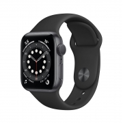 Apple Watch Series 6 40mm Space Gray Aluminum Case with Black Sport Band (GPS) MG133RU/A