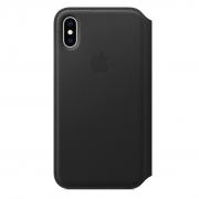 Apple iPhone XS Leather Folio Case Black