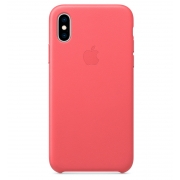 Apple iPhone XS Leather Case Peony Pink