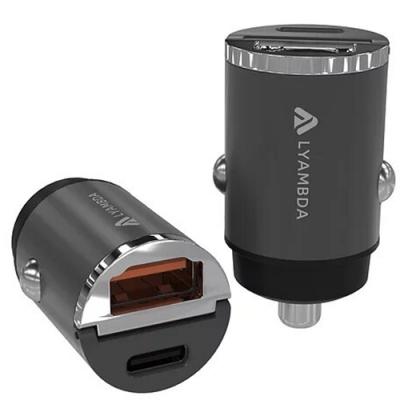 Автомобильное зарядное устройство Lyambda 30Вт (PD+QC3.0) Aluminum LS-D30 Серый Космос