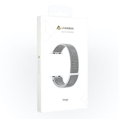 Нейлоновый ремешок Lyambda Vega для Apple Watch 38/40 мм Серый / Белый