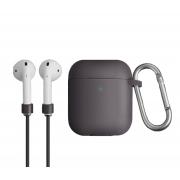 Чехол для Apple AirPods с беспроводной зарядкой Uniq Vencer Case с держателем Grey
