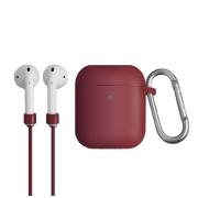 Чехол для Apple AirPods с беспроводной зарядкой Uniq Vencer Case с держателем Maroon