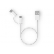 Кабель Xiaomi Mi 2in1 USB to Micro USB / USB-C 30см White