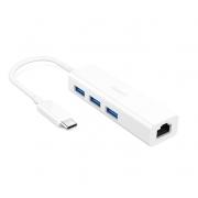 Адаптер Aukey USB-C to 3-USB 3.0 with Gigabit Ethernet
