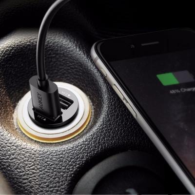 Автомобильное зарядное устройство Aukey Flush-fit Dual Port 4.8A Черное