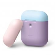 Чехол Elago для AirPods с беспроводной зарядкой Silicone DUO Lavender с крышками Pink и Pastel Blue
