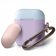 Чехол Elago для AirPods DUO Hang Lavender с крышками Pink и Pastel Blue