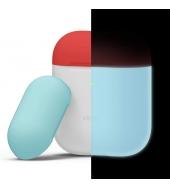 Чехол Elago для AirPods Silicone DUO Nightglow Blue с крышками Rose и Coral Blue