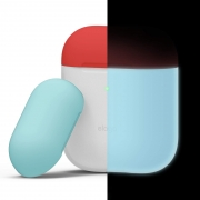 Чехол Elago для AirPods Silicone DUO Nightglow Blue с крышками Rose и Coral Blue
