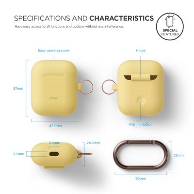 Силиконовый чехол для AirPods Elago Hang Case Желтый