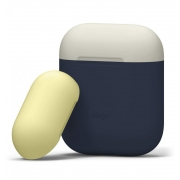 Чехол Elago для AirPods Silicone DUO Blue с крышками White/Yellow