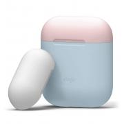 Чехол Elago для AirPods Silicone DUO Pastel Blue с крышками Pink/White