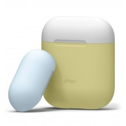 Чехол Elago для AirPods Silicone DUO Yellow с крышками White и Pastel Blue