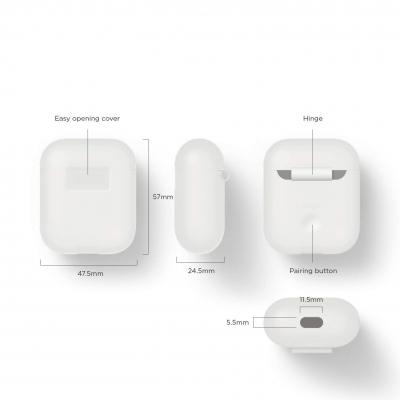 Силиконовый чехол для AirPods Elago Silicone Case Белого цвета