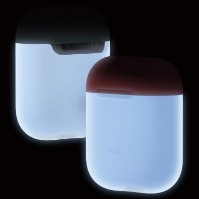 Светящийся чехол Elago для AirPods Silicone DUO Белый с Крышками Красного и Голубого цвета