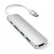 Адаптер Satechi Slim Aluminum Type-C Multi- Port Adapter V2 Silver