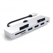 Алюминиевый USB-хаб Satechi Type-C CLAMP для iMac на 3х USB 3.0 и SD/MicroSD Silver