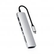 Адаптер Satechi USB-C Slim Multi-Port with Ethernet Adapter Silver