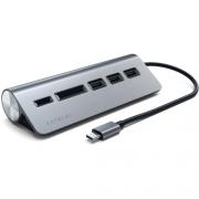 Алюминиевый USB-концентратор Satechi Type-C USB Hub & Micro/SD Card Reader Серый Космос