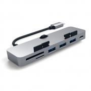 Алюминиевый USB-Hub Satechi Type-C CLAMP для iMac на 3х USB 3.0 и SD/MicroSD Темно-серый