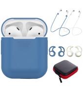 Силиконовый чехол Tutor Protective Case для AirPods и 2 Anti-lost Strap 2 Pairs of Ear Hook и чехол для аксессуаров Blue