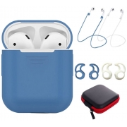 Силиконовый чехол Yuping Protective Case для AirPods и 2 Anti-lost Strap 2 Pairs of Ear Hook и чехол для аксессуаров Blue